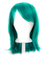 """15"""" Shoulder Length Straight Cut with Long Bangs Teal Green Cosplay Wig NEW"""
