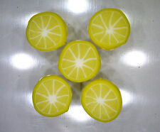 Handmade polymer clay flat circular beads – Lemon Citrus slices