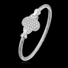 Womens 925 Sterling Silver Bangle Plum CZ Crystal Twisted Cable Bracelet #BR231