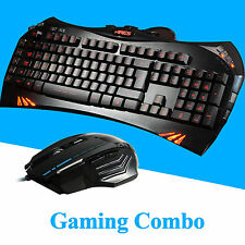 7 Color LED Backlit Illuminated USB Wired Pc Gaming Keyboard and 3200 DPI Mouse