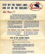 1947 New York Yankees Football Season Ticket Order Form
