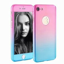 Hybrid 360° Full Body Hard Case Cover +Tempered Glass For iPhone Samsung Galaxy