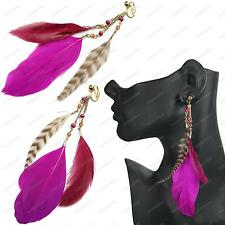 "5.5""long CLIP ON feathers EARRINGS hot pink MAGENTA FEATHER wild bird BOHO gold"