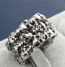 biker motor men's stainless steel Punk small skull Big rings size10