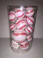 Set of 19 Christmas Peppermint Round Ball Candy Ornaments Red & White
