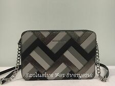 NWT Michael Kors Marquetry Patchwork Jet Set Travel Large EW Crossbody Black$228