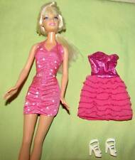 Lot 2 Barbie Doll Pink Dresses Metalic Stars Ruffles White Heel Shoes