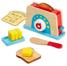 Melissa & Doug BREAD & BUTTER TOASTER SET Wooden Play food Kitchen Toy Kid BN
