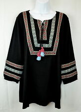 Style & Co. Womens 1X Black Embroidered Peasant Top Blouse Tunic Shirt NEW NWT