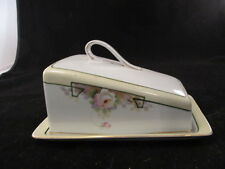 Vintage Hand Painted Nippon Covered Cheese Dish With Roses And Gold Trim