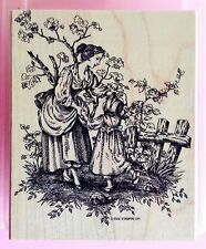 "STAMPIN UP! ""Serenity"" Mounted Rubber Stamp 2002 Mother and Daughter Large Stamp"