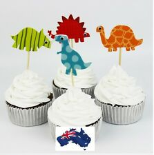 12 x Colourful Dinosaur Cupcake Jelly Cup Toppers Toothpick Party Birthday Decor