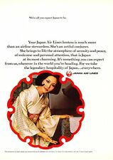 "1969 JAL Japan Airlines Stewardess photo ""The Artful Conjurer"" promo print ad"