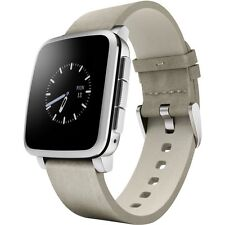 Pebble Time Steel Smartwatch Silver Leather Band Smart Watch Apple Android