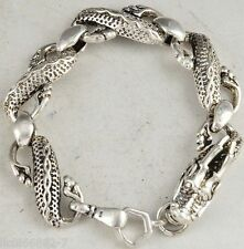 China Dragon Head Tibet Silver Chinese Old Handwork Bracelet