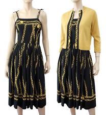 HELFT'S Vintage 2pc Black Chain Print Cotton Dress & Cashmere Sweater S ~ MINT!