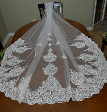 60v Elegant Bridal Ivory Applique Lace Edge 3m Wedding Veil w Comb