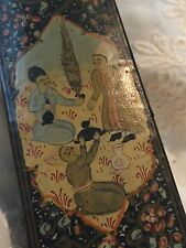 VINTAGE ANTIQUE PERSIAN / INDIAN PAPER MACHE PEN PENCIL CASE BOX MOGUL FIGURES