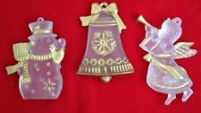 """White Goldtone 3"""" Snowman Bell & Cupid Angel Figurine Ornament Lot of 3 Pieces"""