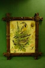 ANTIQUE COTTAGE ARTS AND CRAFTS PICTURE FRAME WITH VINTAGE BIRD PRINT