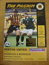 19/09/2001 Boston United v Dagenham And Redbridge [Last Non League Season] . Thi