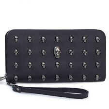 Ladies Skull Smile 3D Studded Leather Goth Purse Wallet Bag Clutch Handbag Women