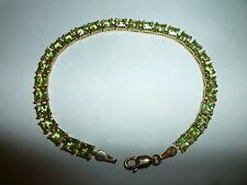 Sign 14K Solid Yellow Gold /W/ 29 Cut Square Peridot S/ Mexico Tennis Bracelet