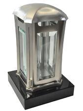Grablaterne aus Edelstahl auf Granitsockel Black, Grablampe Grablicht