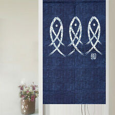 Traditional Japanese Noren Room Doorway Curtain Lucky Blue Fish Pub Hanging Deco