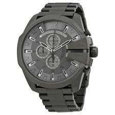 Diesel Mega Chief Chronograph Grey Dial Black Ion-plated Mens Watch DZ4282