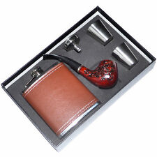 Business Gift Set Brown 7oz Stainless Steel Hip Flask Flagon Wooden Tobacco Pipe