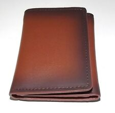 NEW ROUNDTREE & YORKE MEN'S AGED LEATHER TRIFOLD ID CREDIT CARD WALLET BROWN