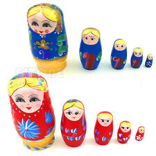 5Pcs New Wooden Hand Painted Russian Nesting Dolls Babushka Matryoshka Gift Toy