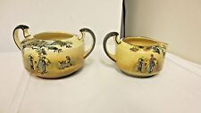 Vintage Royal Doulton English Old Scenes Creamer & Sugar Bowl-The Gleaners