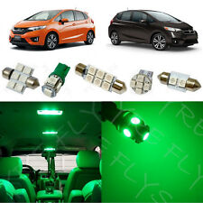 6x Green LED lights interior package kit for 2015 & Up Honda Fit HF2G