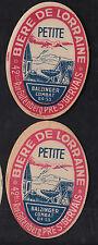 2 Anciennes étiquettes  Alcool  France Bière de Lorraire  BN10199 Cigogne