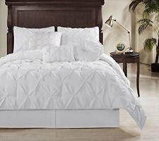 Chezmoi Collection Sydney 7 Piece Pintuck Comforter Set, California King, White