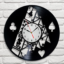 House of cards design vinyl record clock home decor art gift office playroom