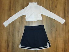 XS Youth Child Cheerleader Uniform Cheer Outfit Costume Crop Top Skirt Navy Blue