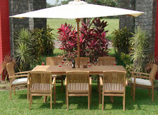 Wave A-Grade Teak 9pc Dining 94 Rectangle Table 8 Stacking Arm Chair Set Outdoor