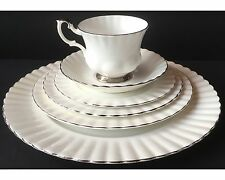 Royal Albert White Chantilly 6 Piece Place Setting Platinum Trim