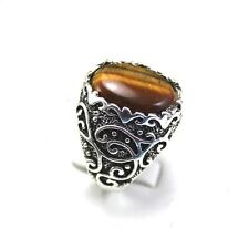 Fashion Thick 100% Natural Tiger's eye ring Tibet silver jewellery J1