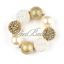 Chunky Gold White Solid Beads Bubblegum Bracelet For Girl Baby Jewelry