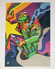 1971 Cuban ORIGINAL Political Poster.Cold War propaganda.Anti-Imperialist art