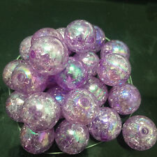 10pcs purple Crackle Glass Round 12mm Beads Jewelry Findings Craft Bead Supply~@