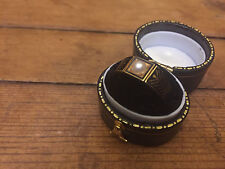 Antique Victorian 18 Carat Gold Black Enamel & Pearl Mourning Ring - Inscribed