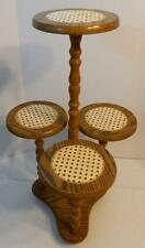 VINTAGE WOOD AND WICKER 4 SHELF PLANT STAND DISPLAY SHELF