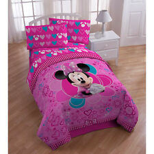 5p Disney MINNIE MOUSE Hearts FULL COMFORTER SHEETS BED SET Double Love Pink BOW