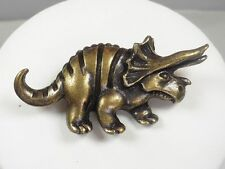 Vintage Antiqued Gold Tone Dinosaur Style 2 Pin / Brooch