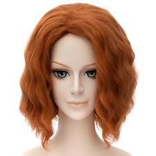 Black Widow Sexy Orange Brown Short Curly Women Cosplay Full Wavy Hair Wigs
